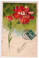 CPA SOUVENIR FLEUR OEILLET ROUGE  - EMBOSSED GAUFREE 1907