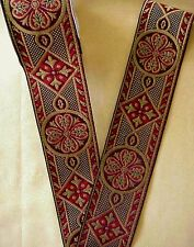"""Red & Gold Wide Jacquard Chasuble Vestment Trim  2 3/8"""" Wide"""