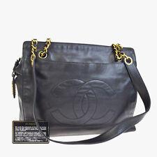 Authentic CHANEL CC Logos Chain Shoulder Bag Leather Black Italy Vintage 99V559