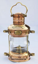 "Copper & Brass Anchor Oil Lamp Leeds Burton Nautical Maritime 14"" Ship Lantern"