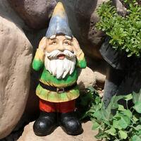 Sunnydaze Henry Hears No Evil Gnome Garden Statue and Lawn Ornament - 12-Inch