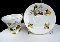 "WINDSOR CHINA ENGLAND #X2649/89 YELLOW & WHITE ROSES 2 7/8"" FOOTED CUP & SAUCER"