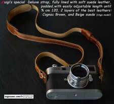 LUIGI's BROWN DELUXE STRAP FULLY LINED IN BEIGE,fit LEICA,NIKON,CANON,ZEISS,FUJI