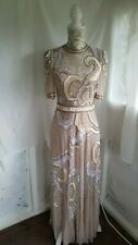 Vtg 1920,s 30's style Downton Gatsby nude pearl beaded wedding dress size 10 uk