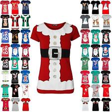 Womens Christmas Santa Claus Father Beard Ladies Belt Costume Print T Shirt Top