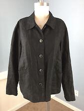 J Jill L Black 100% Linen Blouse Button Up Jacket Excellent Casual