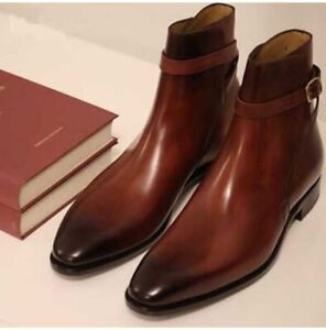 Handmade Mens brown Jodhpurs boots Men Brown leather Ankle boots, boots for mens