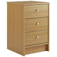 Malibu 3Draw Compact Wooden Bedroom Bedside Cabinet Furniture Side Table Storage