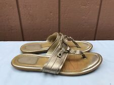 Authentic Christian Dior 38.5 US 7.5 Gold Leather Logo Charm Thong Sandals A7