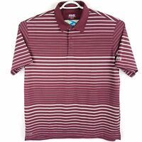 Ping Maroon Burgundy Red & White Striped Polyester Golf Polo Shirt Mens XXL 2XL