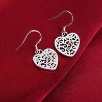 Cute jewelry wedding sterling Silver heart Earring Fashion Charm Beautiful women