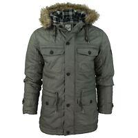 Mens Parka Quilted Jacket 'Harvey' Brave Soul Oil Cotton Fur Trim Hooded Coat