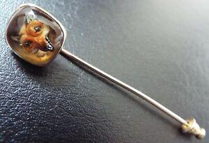 Antique VICTORIAN 14ct Gold Essex Crystal Fox Head Intaglio Stick Pin Stickpin