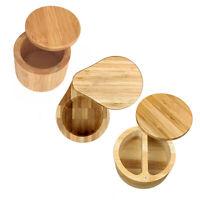 Wood Salt Box Jar Round Pot with Lid Spice Organizer Kitchen Storage Container