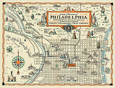 1940 Pictorial Philadelphia Map Wall Art Poster Print Decor Vintage History