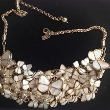 Kate Spade NY Gold Plated Mother of Pearl Flock of Butterflies Bib Necklace