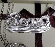 Name Double Plate Silver Personalized Choose Any Name Necklace With Figaro Chain
