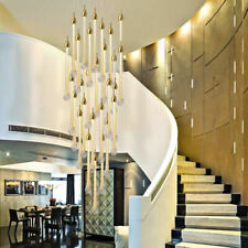 Crystal Drop Light Chandelier Gold Pendant Lamp LED Stair Ceiling Chandeliers
