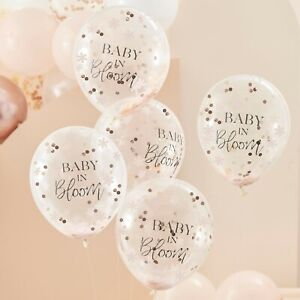 Baby in Bloom, Rose Gold & Floral Baby Shower Party Confetti Balloons x 5