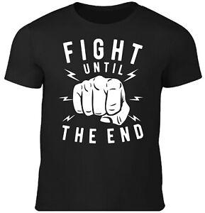 Fight until the End Street Wear Herren T-Shirt Fight for Life Biker Rocker Faust