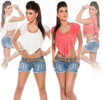 Ärmellose Damenblusen, - tops & -shirts aus Baumwolle ohne Muster mit Stretch