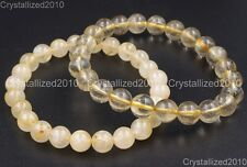 Natural Gemstone Golden Rutilated Quartz Crystal Rock Round Beads Bracelet AAA