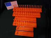 "Hansen 6 Pc Socket Tray Metric SAE Tool Rack Holders 1/4"" 3/8"" 1/2"" Orange -USA"