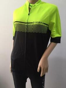 JIVANA Ladies Womans Cycling Bike Jersey Top short sleeve FluroGreen/Black S-4XL