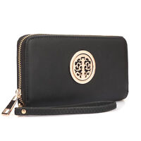 Dasein Women Wallet Faux Leather Wallet Purse ID Card Holder Bag w/ Zip Around