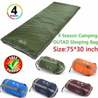 "OUTAD Waterproof 4 Season Single Sleeping Bag for Camping Hiking 75"" L x 30""W 0E"
