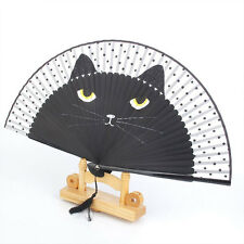 Summer Cute Black Cat Kitty Plastic Bamboo Hand Painted Cartoon Cat Folding Fan