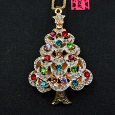 Women's Color Crystal Star Christmas Tree Pendant Betsey Johnson Long Necklace