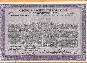 GEORGIA PACIFIC CORPORATION 500 SHARE VINTAGE STOCK CERTIFICATE 1976