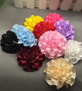 10/25pcs satin ribbon big Peony Flower Appliques/craft/Wedding decoration U P