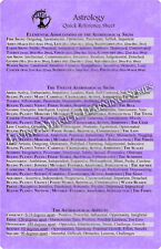 Astrology Quick Reference Information Chart Wiccan Pagan Stationery QRSAS