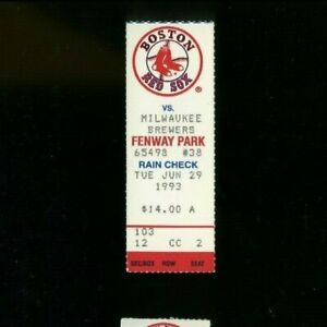 6-29-1993 Milwaukee Brewers @ Boston Red Sox Ticket - Mo Vaughn HR #27