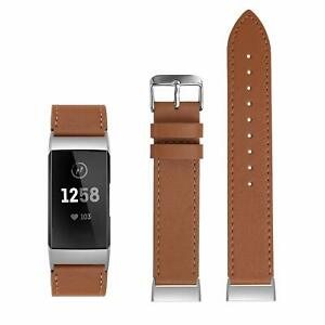 """Leather Band For Fitbit Charge 4 Charge 3 3SE Russet Tan Size Large 7.5"""" - 8.3"""""""