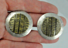 "Estate Older Marjorie Baer MB SF Textured Mixed Metal 1-1/4"" Clip On Earrings"