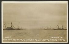 More details for royal naval review 1911 - lines of decorated warships - vintage rp postcard