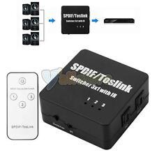 3x1 SPDIF TOSLINK Digital Optical Audio Switch Switcher IR Remote Control US