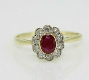 9ct Yellow Gold Ruby & Diamond Cluster Ring Size N, US 6 3/4