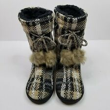 Muk Luks Womens Gladys Slippers Size 7/8 Black Plaid Oh Deer Collection