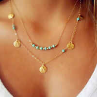 Women Lady Girl Boho Bohemian Blue turquoise stone Chips Beads Necklace Chain