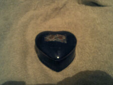Great Gift! New, HeartShaped Ceramic Cobalt Blue w/Pheasants Trinket/Jewelry Box