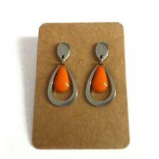 Boucles D'oreilles gouttes orange et argenté foncé acier inoxydable léger rétro