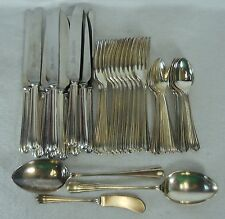 LEWIS ROSE flatware LWR3 Scalloped Tip silverplate 39-piece Luncheon Set for 12