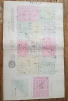Antique Colored MAP - LYON COUNTY + HARTFORD & HORTONBURG  - 1887 KANSAS ATLAS