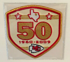 2009 KANSAS CITY CHIEFS 50TH YEAR OFFICIAL NFL FOOTBALL PATCH WILLABEE WARD