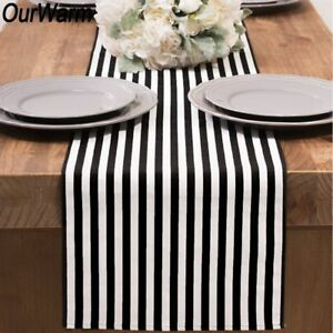 Striped Pattern Cotton Silk Fabric Table Decoration 6ft Wedding Home Used Design
