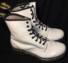 DR MARTENS AIRWAIR WHITE PATENT 8 EYELET BOOTS SIZE 8
